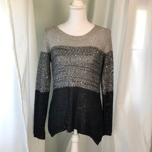 Belldini Open Weave Light Stretch Sequined Sweater